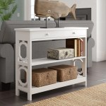 Furniture White Console Table 3 Storage Drawers Open Shelf Wooden Display Unit Room Hall Home Furniture Diy Alpan Com Mk