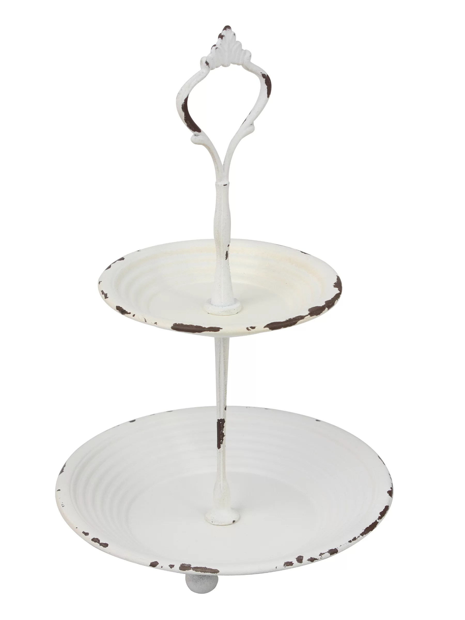 Ophelia Co Merida Small 2 Tier Worn White Metal Tray Rustic Farmhouse Decor Tiered Jewellery Tray For Vanity Or Bathroom Reviews Wayfair Ca