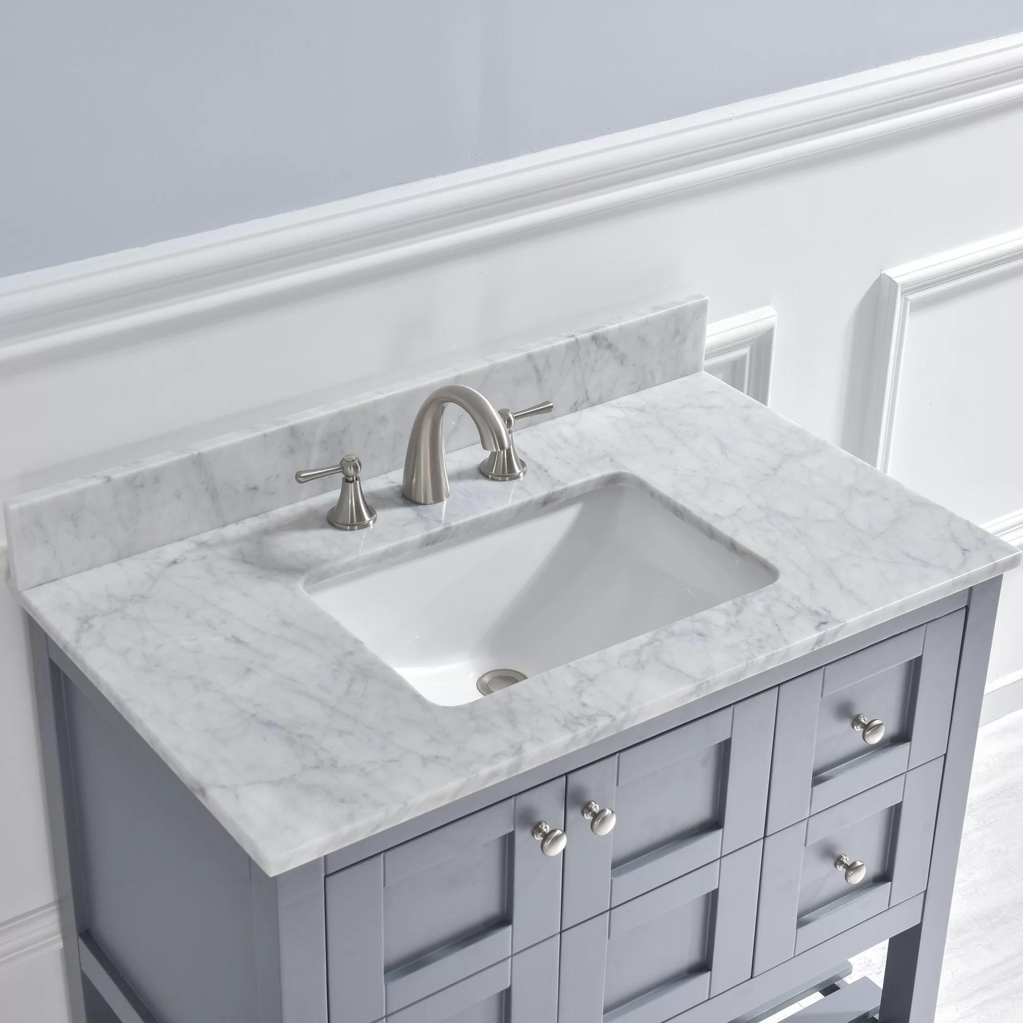 37 single bathroom vanity top in carra white with sink