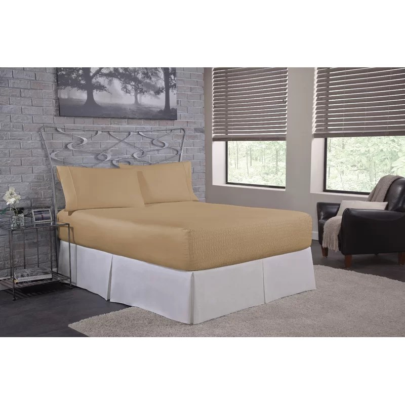 Solid 300 Thread Count Deep-Pocket 100% Cotton Sateen Sheet Set Size: Twin Color: Taupe