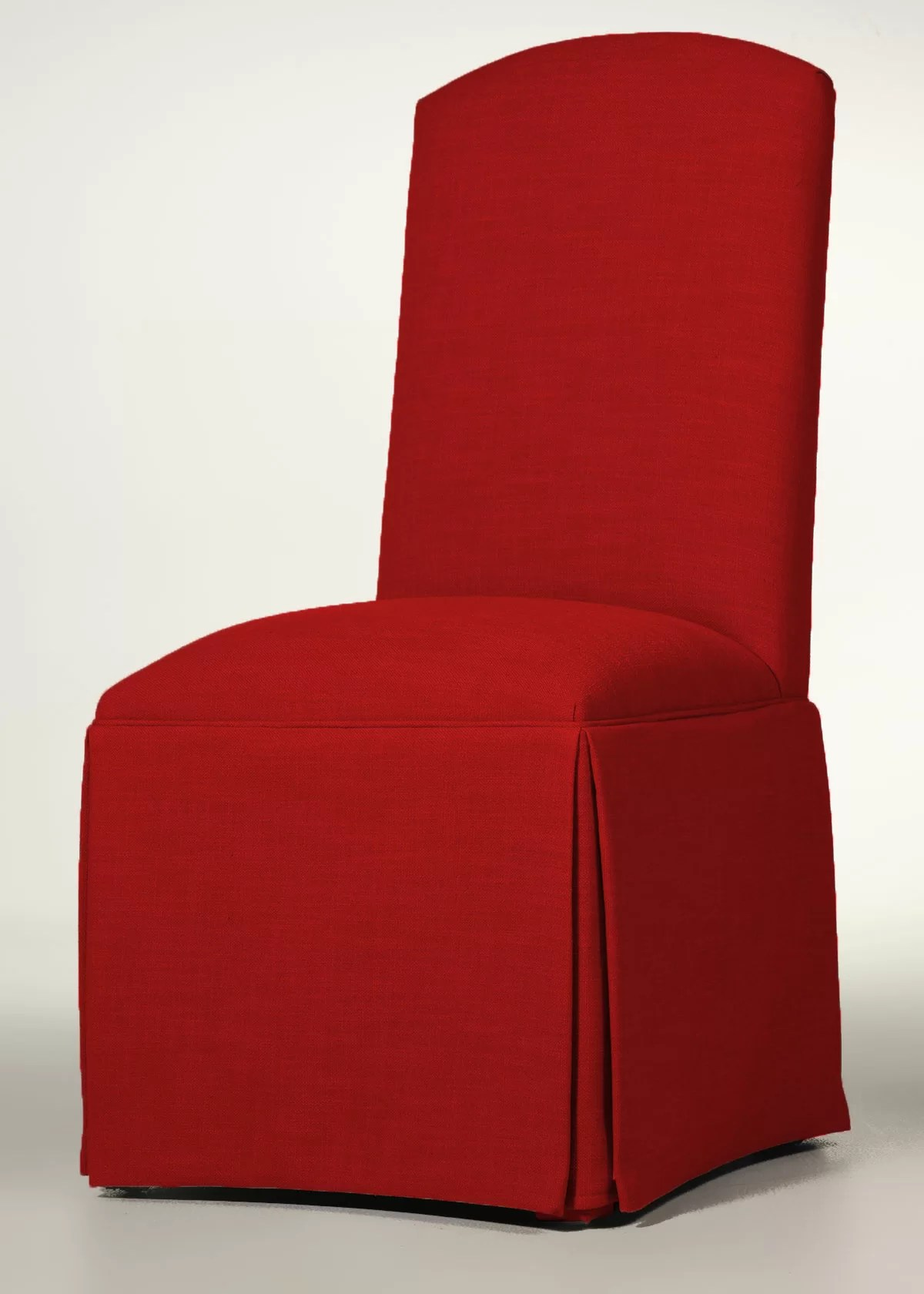 Red Upholstered Dining Chairs Lamoille Traditional Skirted Upholstered Dining Chair