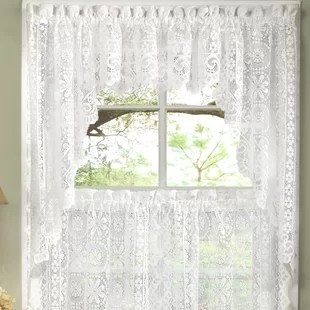 swag curtains for kitchen cabinets paint 63 inch wayfair old world style floral heavy lace curtain