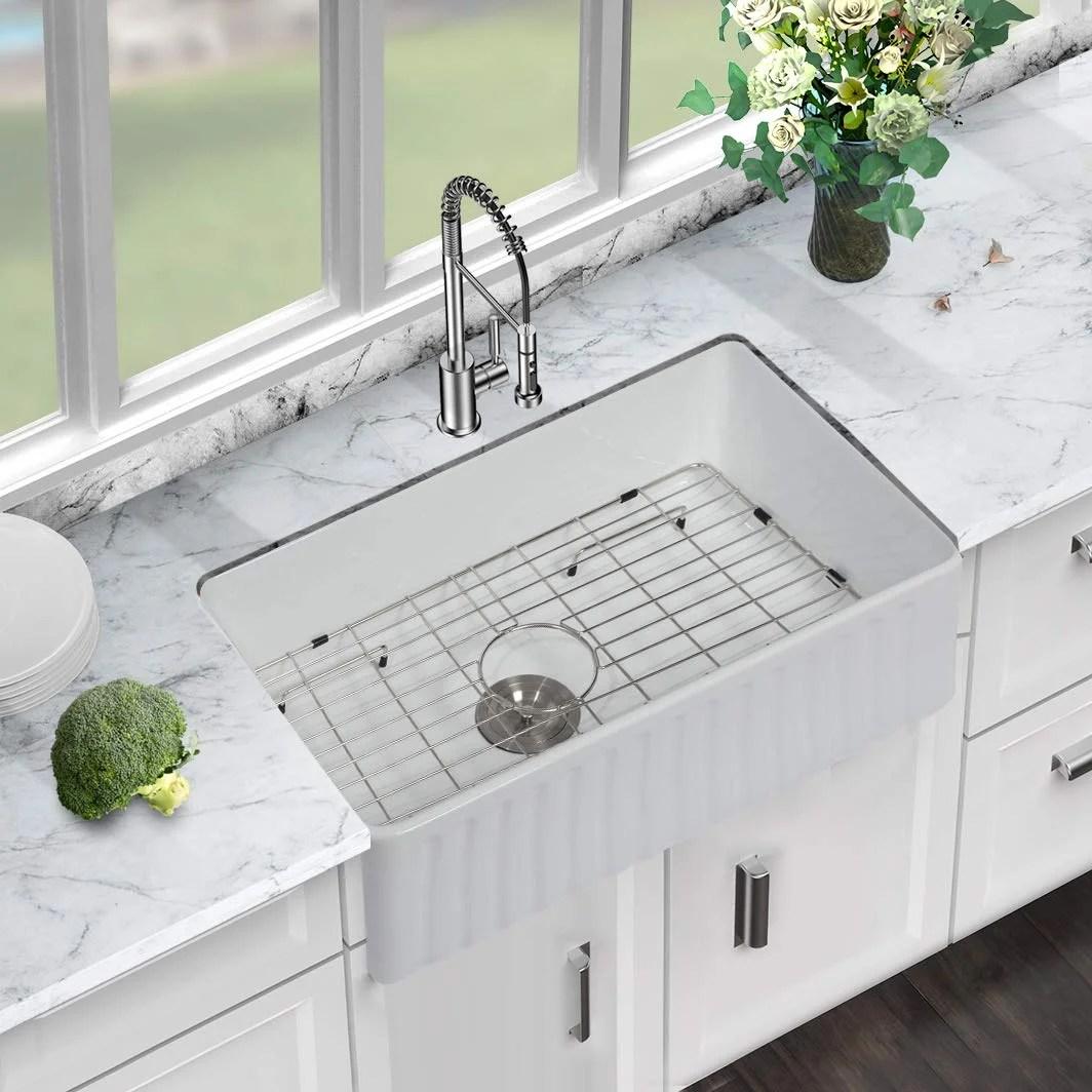 30 l x 18 w kitchen sink apron front reversible white ceramic porcelain fireclay single bowl farm sink basin