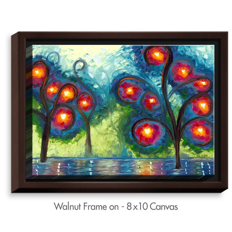 Hearts Afire by Jessilyn Park Painting Print on Wrapped Framed Canvas Size: 12.75 H x 15.75 W x 1.75 D Frame Color: Walnut