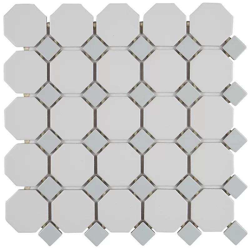 osmond 2 x 2 ceramic octagon and dot mosaic wall floor tile