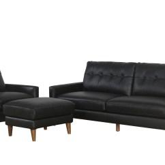 3 Piece Black Leather Living Room Set Gray And White Furniture Corrigan Studio Annalise Wright Mid Century Wayfair