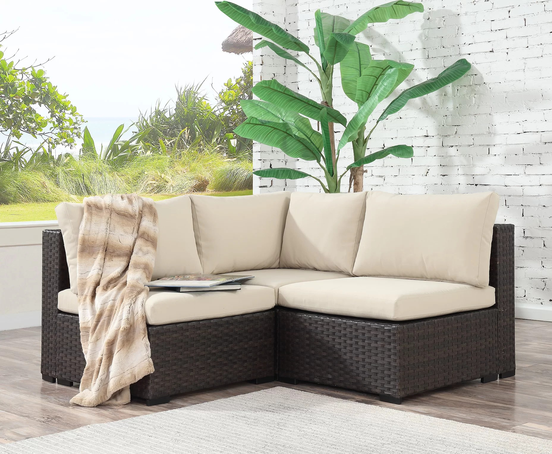 Rattan 3 Piece Sofa Holliston 3 Piece Rattan Sectional Seating Group With Cushions