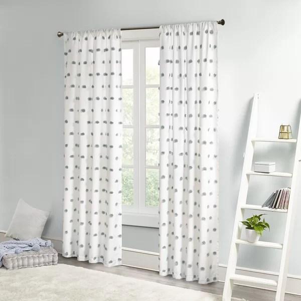 castro pom pom polka dots semi sheer rod pocket single curtain panel