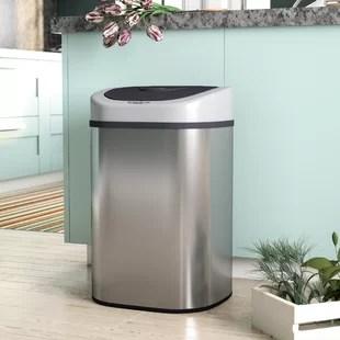 popel steel 21 1 gallon motion sensor trash can