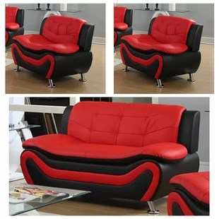 black and red leather sofa antique styles living room sets you ll love wayfair quickview