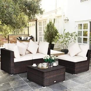 latitude run 4pcs rattan patio sofa conversation set outdoor furniture set w cushion