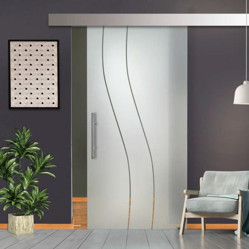 single sliding glass barn door with installation hardware kit