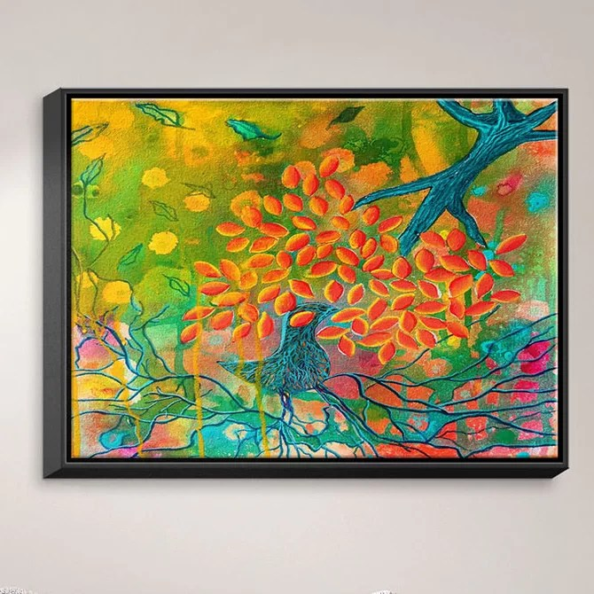 Everything is Rooted in Love by Kim Ellery Painting Print on Wrapped Framed Canvas Size: 12.75 H x 15.75 W x 1.75 D Frame Color: Black
