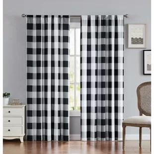 buffalo plaid everyday semi sheer rod pocket curtain panels set of 2
