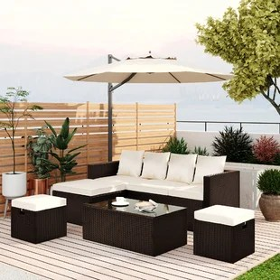 go 5 piece patio furniture pe rattan wicker sectional lounger sofa set with glass table and adjustable chair brown wicker beige cushion