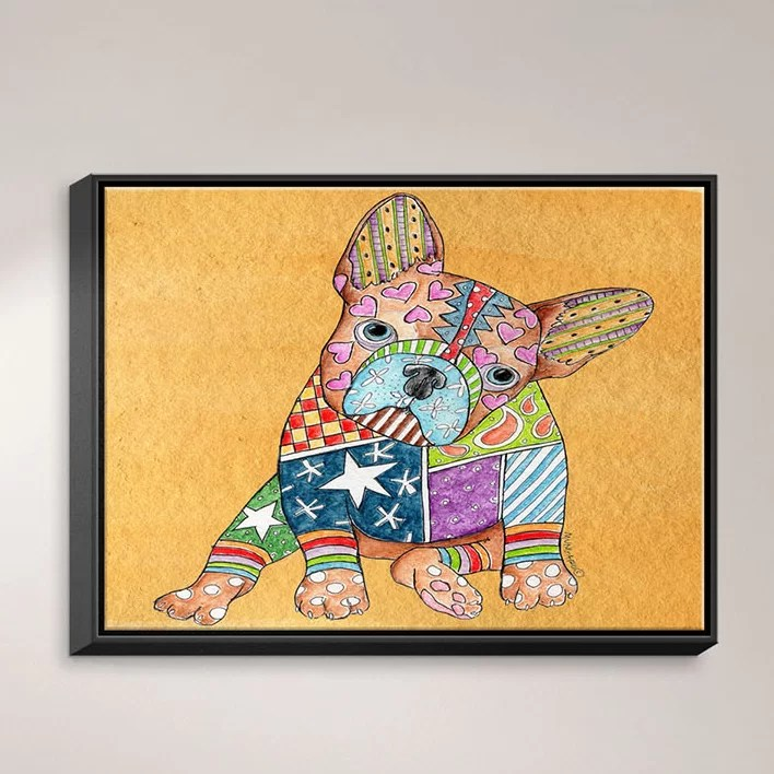 French Bulldog by Marley Ungaro Painting Print on Wrapped Framed Canvas Size: 12.75 H x 15.75 W x 1.75 D Frame Color: Black