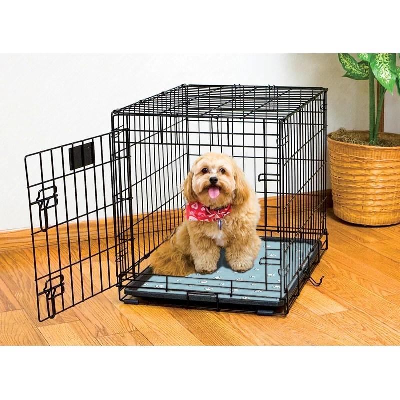Dog Crate Mat Color: Blue Paw Stripe