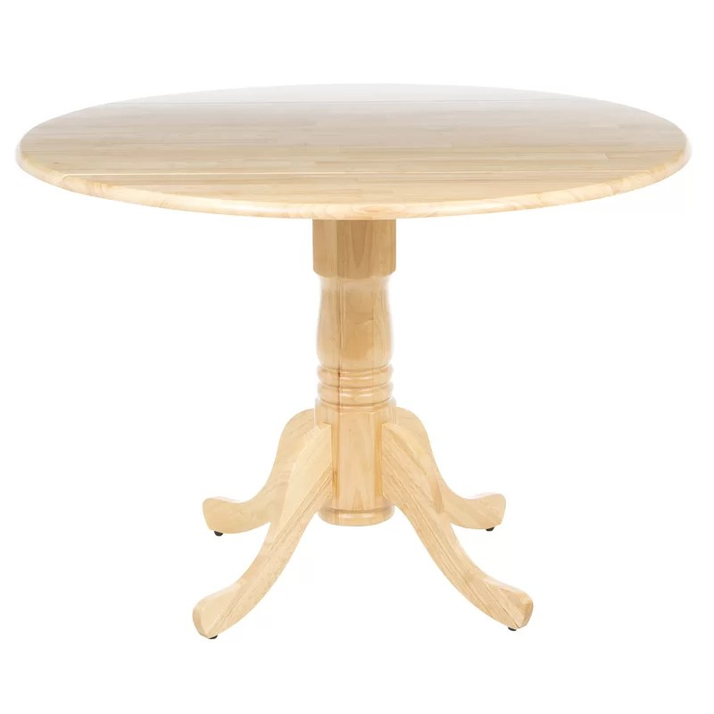 Boothby Drop Leaf Rubberwood Solid Wood Pedestal Dining Table