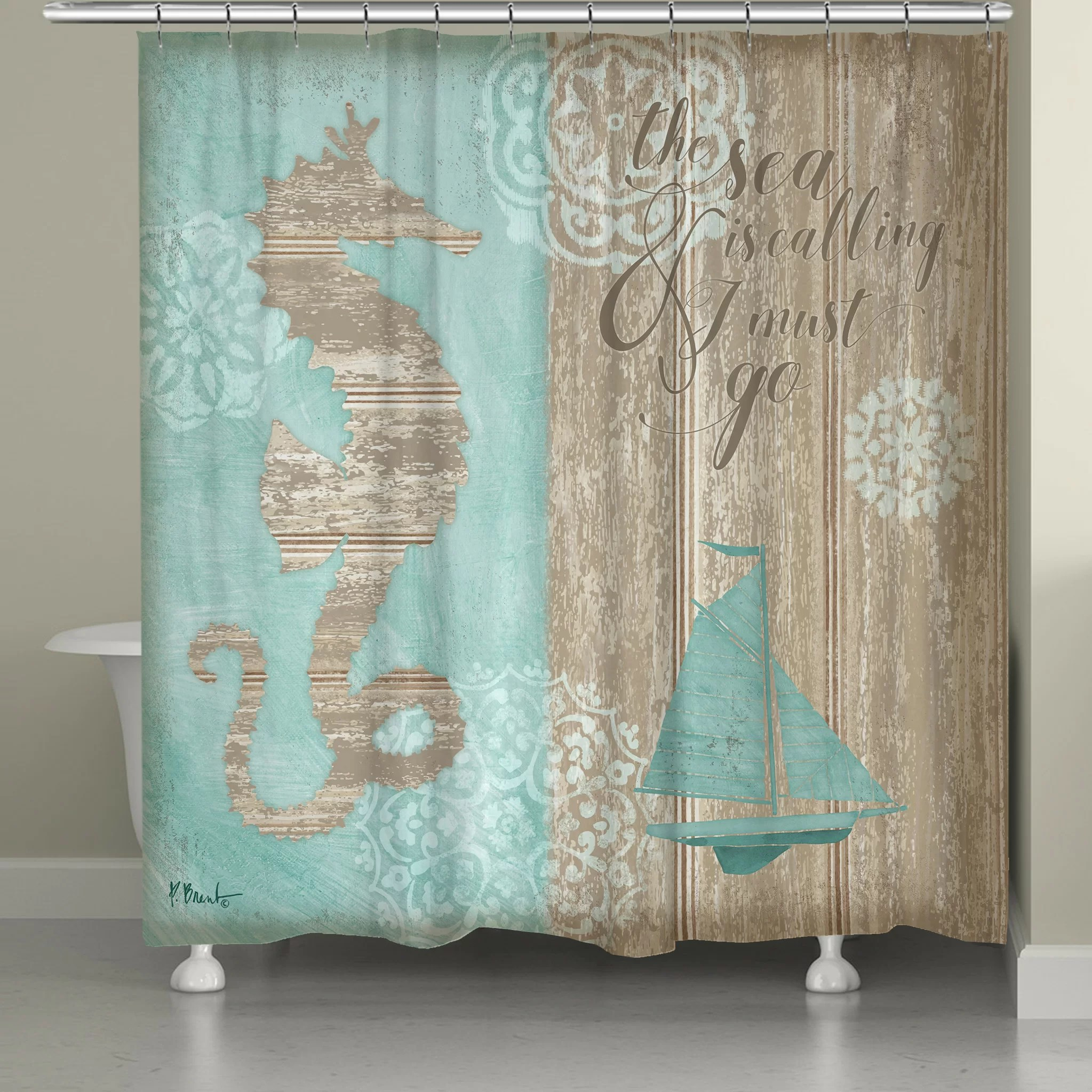 hannover beach boardwalk single shower curtain