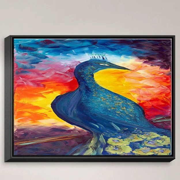 Peacock by Jessilyn Park Painting Print on Wrapped Framed Canvas Size: 31.75 H x 41.75 W x 1.75 D Frame Color: Black