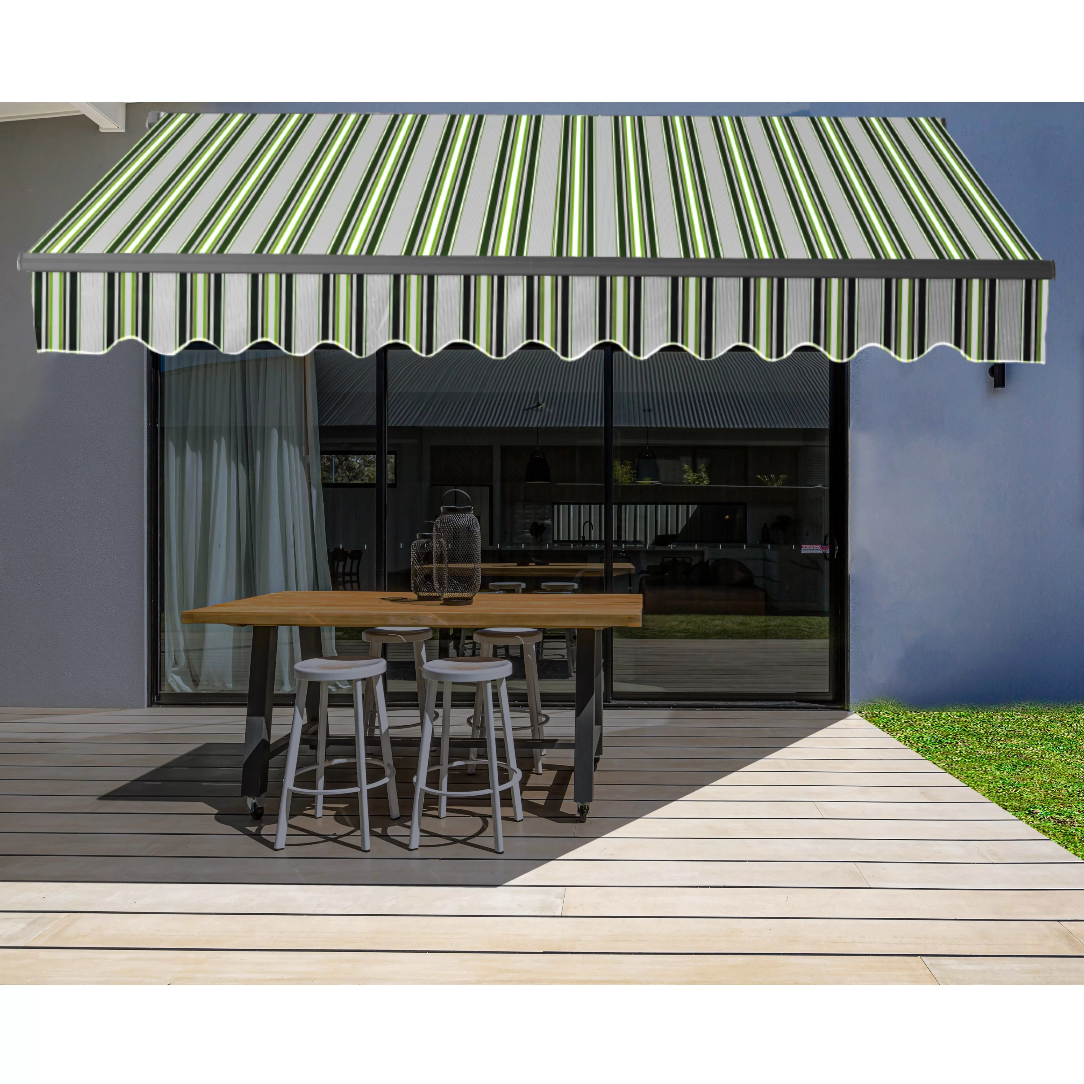 aleko motorized retraction slope patio awning in green