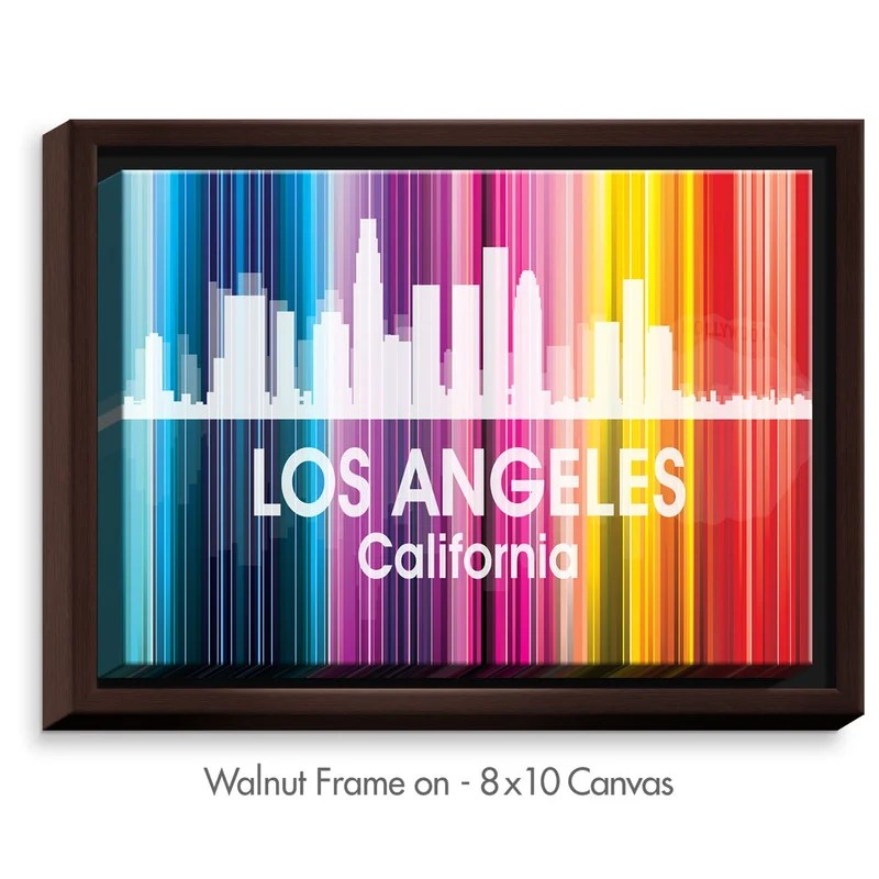 City II Los Angeles California by Angelina Vick Graphic Art on Wrapped Framed Canvas Size: 17.75 H x 21.75 W x 1.75 D Frame Color: Walnut