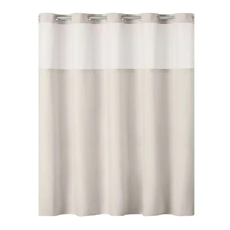 hookless antigo plain weave shower curtain with fabric liner white