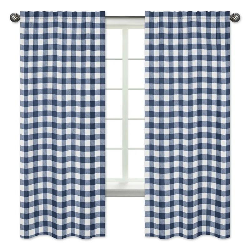 100 cotton gingham semi sheer rod pocket curtain panels