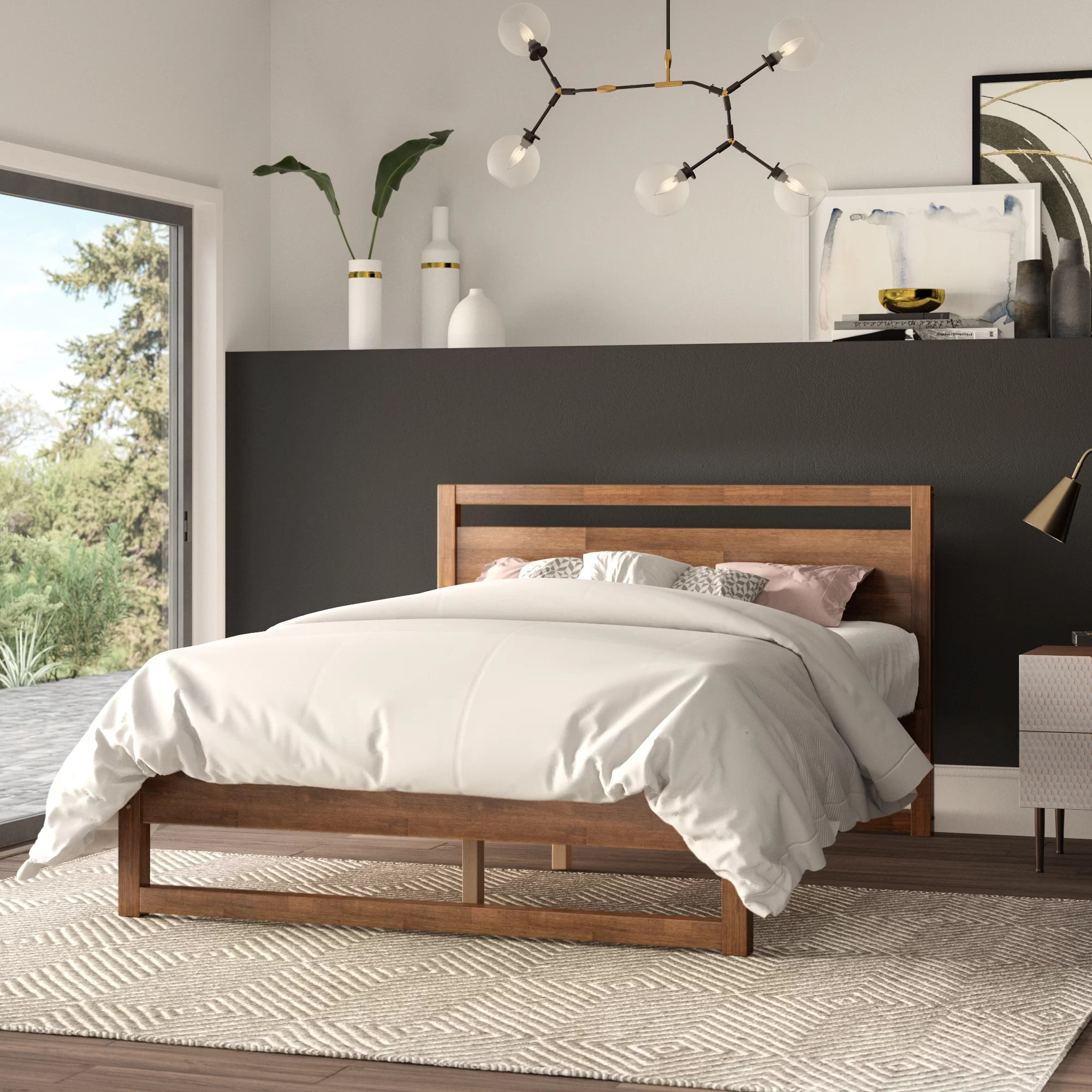 mid century modern low profile standard bed