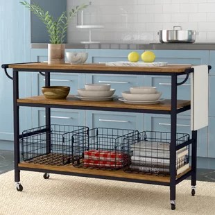 kitchen island carts seats 6 islands you ll love wayfair fresnay with wooden top