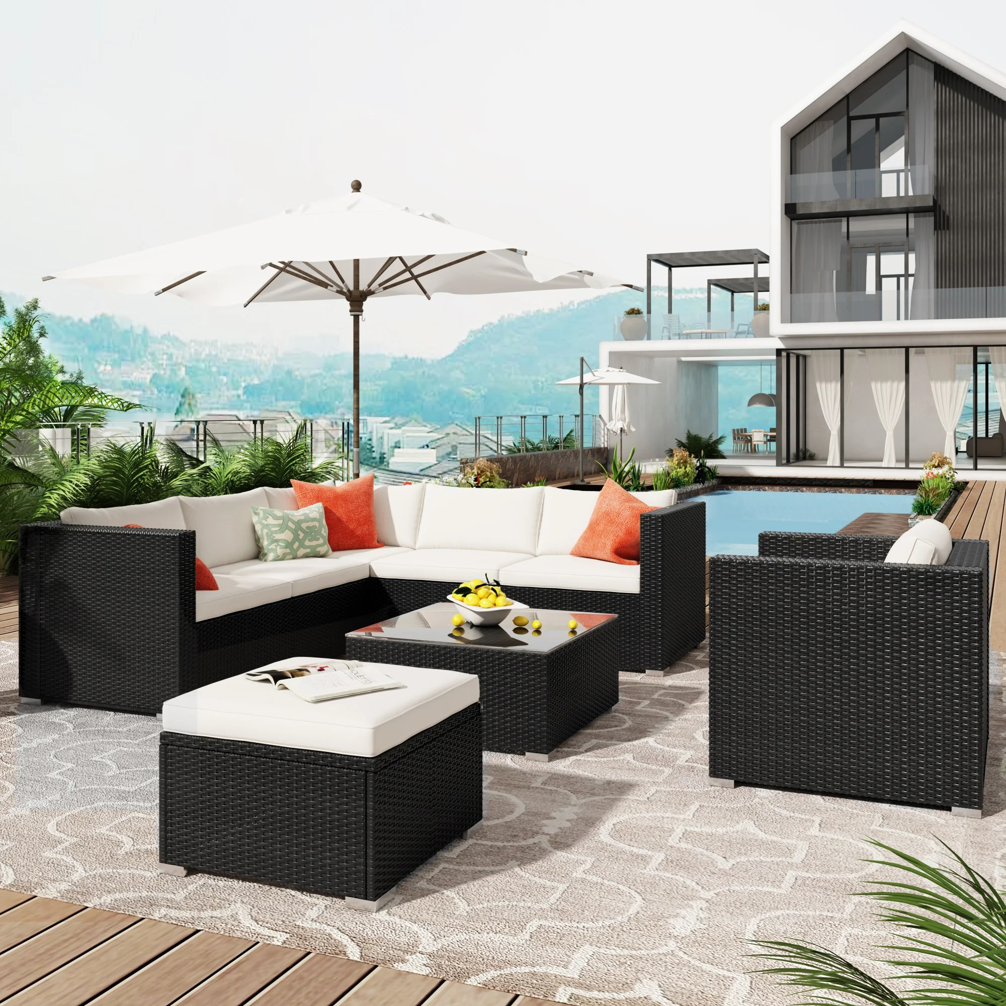 u style patio furniture sets all weather outdoor pe rattan sectional sofa 8 piece patio wicker corner sofa with cushions ottoman and coffee table