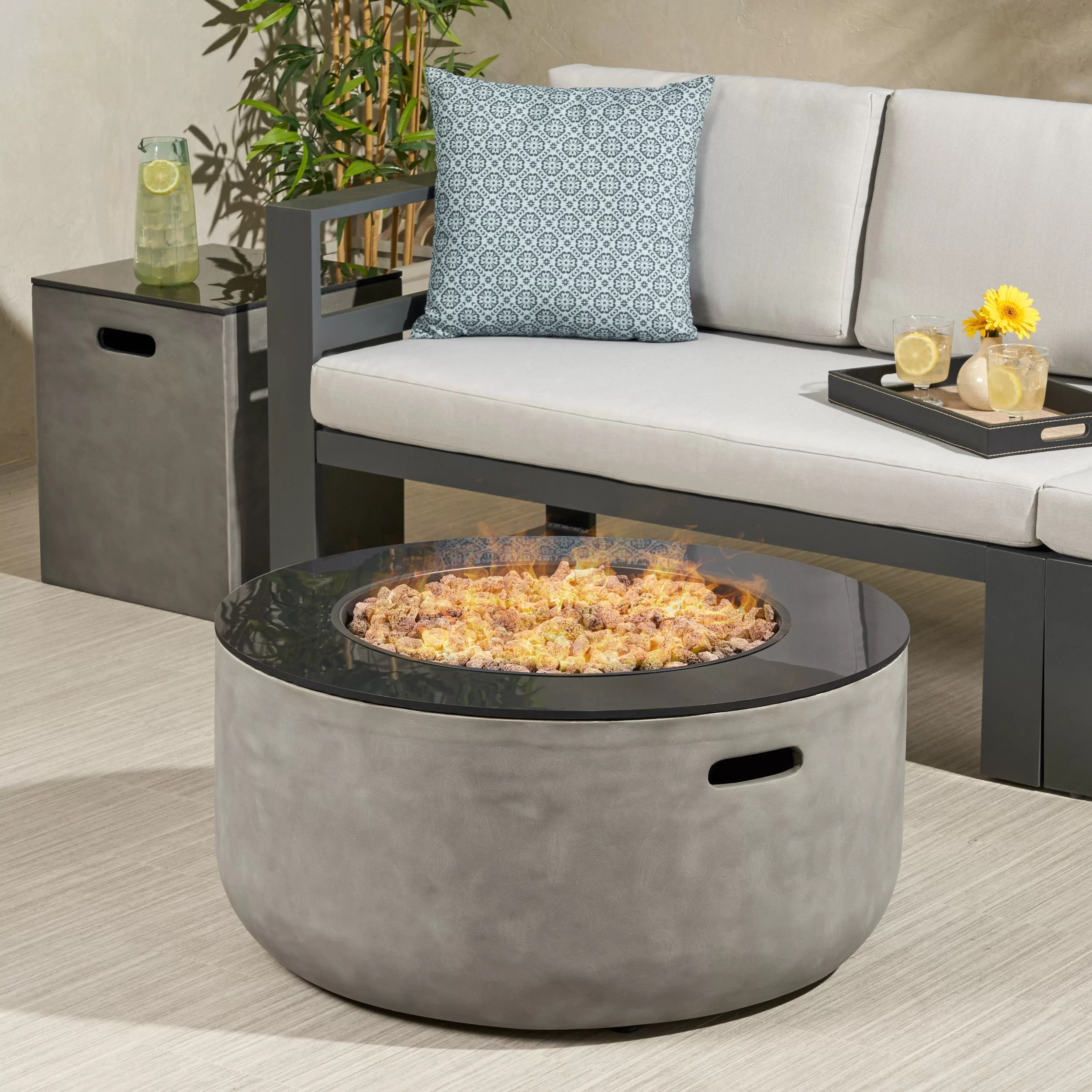 luvana outdoor modern with tank holder concrete propane fire pit
