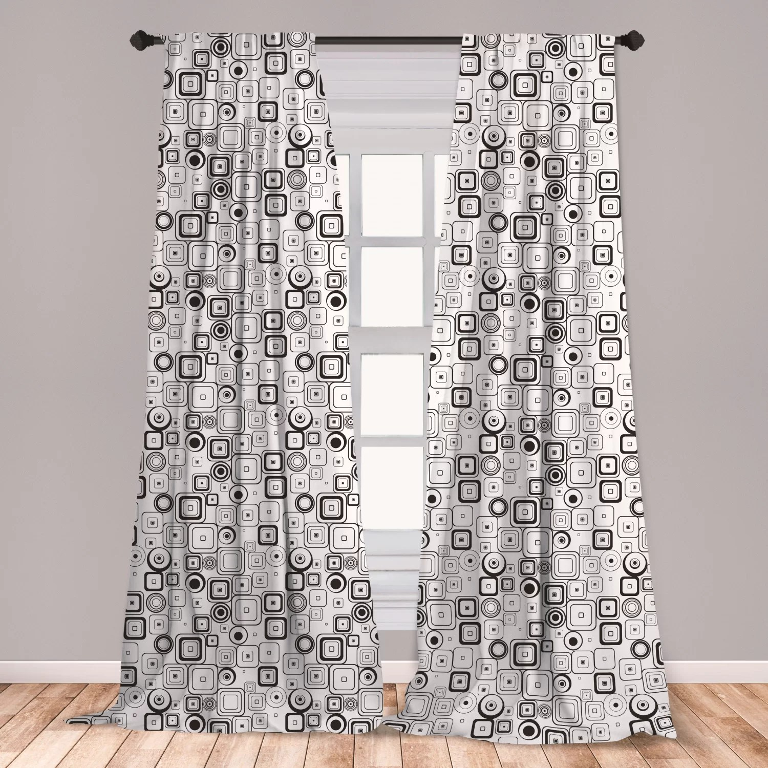 $24 window curtains for bedroom,black pattern for bedroom l 63 x w 5 home kitchen home dã â©cor products window treatments East Urban Home Ambesonne Black And White Curtains Retro Style Squares And Circles Sixties Seventies Urban Fashion Artwork Window Treatments 2 Panel Set For Living Room Bedroom Decor 56 X 95 Black White Wayfair