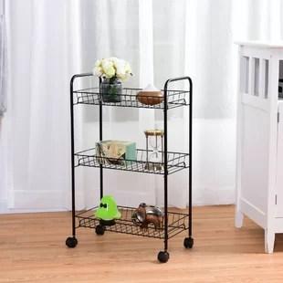 kitchen trolley cart unfinished table wayfair ca 3 tier rolling utility wire storage shelf baskets