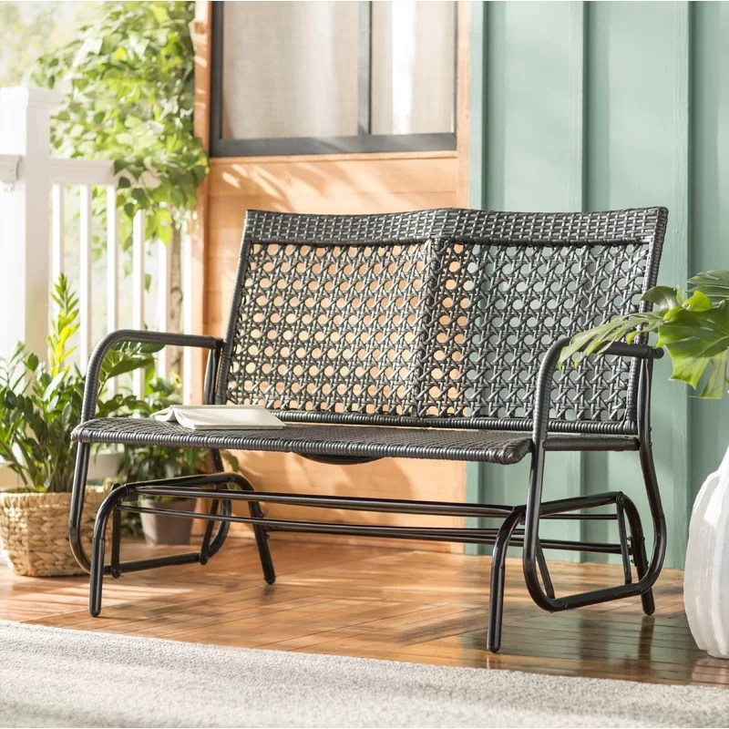 shupe steel rattan outdoor patio double glider bench