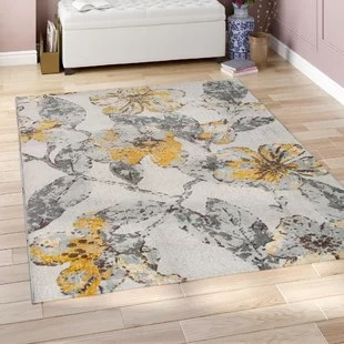 yellow and gray rug for living room modern white rooms gold rugs you ll love wayfair elisabetta area