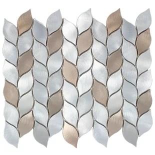 leaf shape 1 x 3 metal mosaic tile
