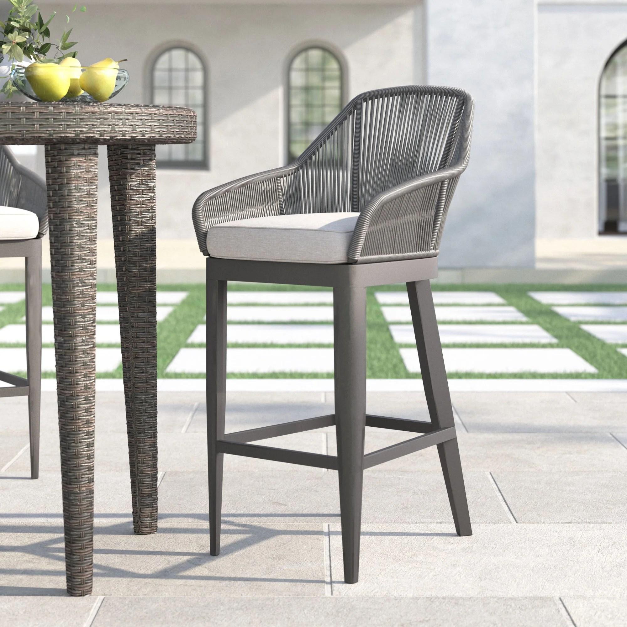 milano 29 patio bar stool with cushion