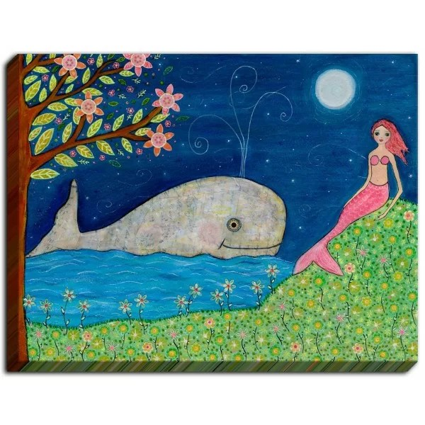 Whale Mermaid by Sascalia Painting Print on Wrapped Canvas Size: 12 H x 16 W x 1.5 D