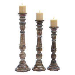 Lincoln 3 Piece Wood Candlestick Set