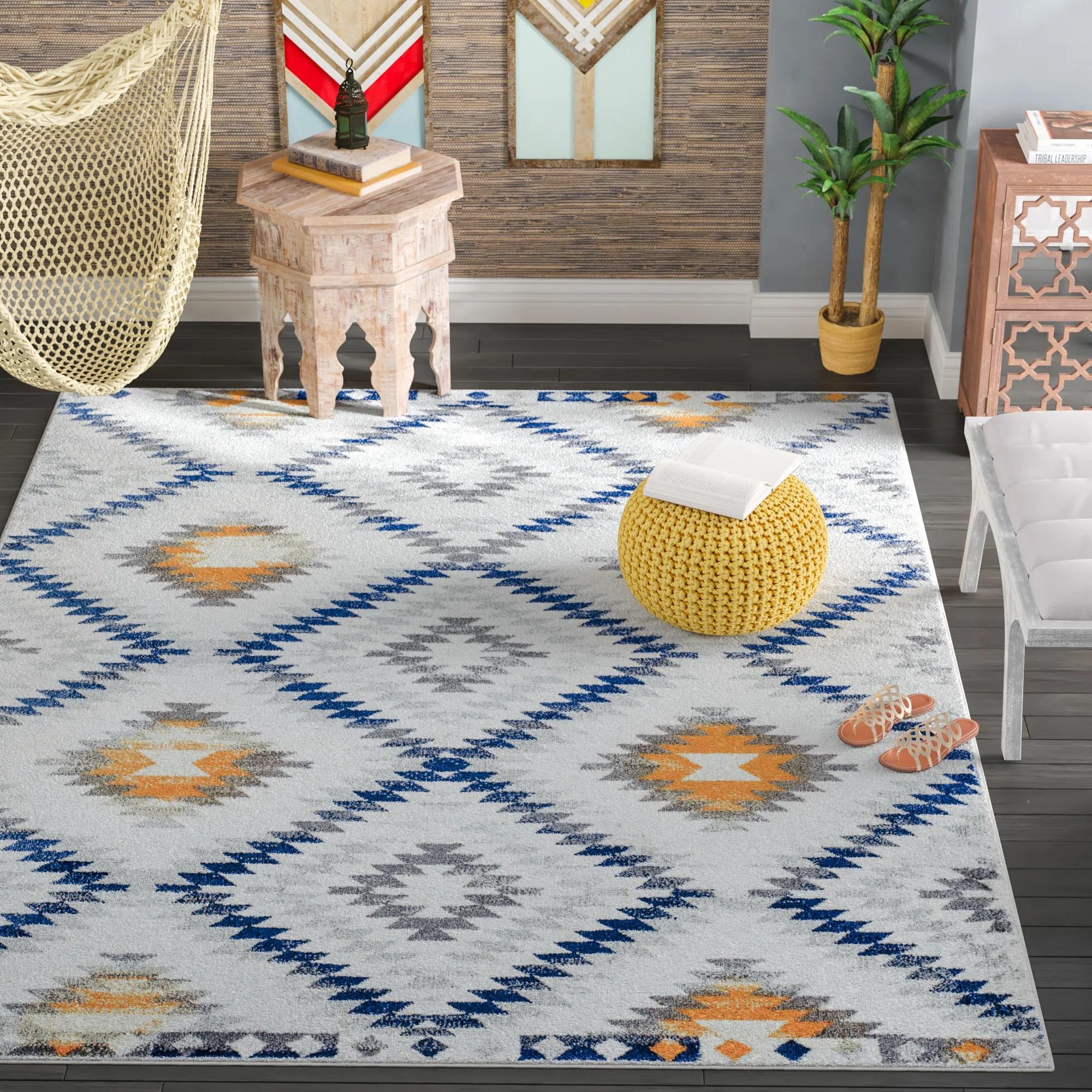 Cosmoliving By Cosmopolitan Southwestern Ivory Blue Yellow Area Rug Reviews Wayfair Ca