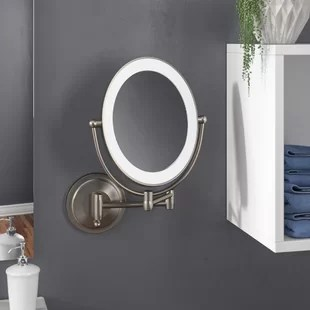 verlene cordless dual led lighted oval wall mount mirror with 1x and 10x magnification