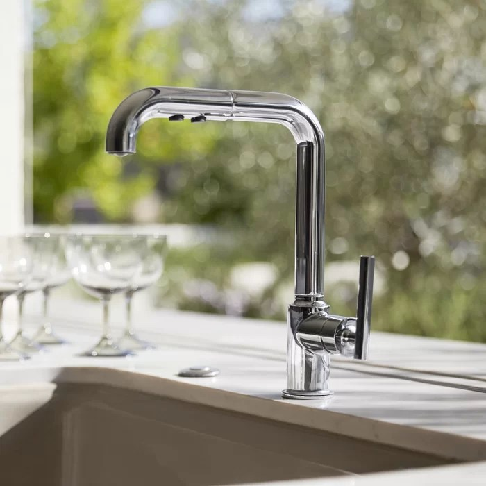 kitchen sinks and faucets decor styles kohler purist single hole sink faucet with 8 pullout spout promotion