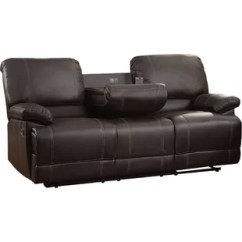 Ryker Reclining Sofa And Loveseat 2 Piece Set Brown Leather Electric Recliner Wayfair Edgar Double