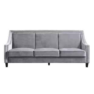 black leather sofa with nailheads queen sectional sleeper nailhead trim wayfair trista wood legs couch