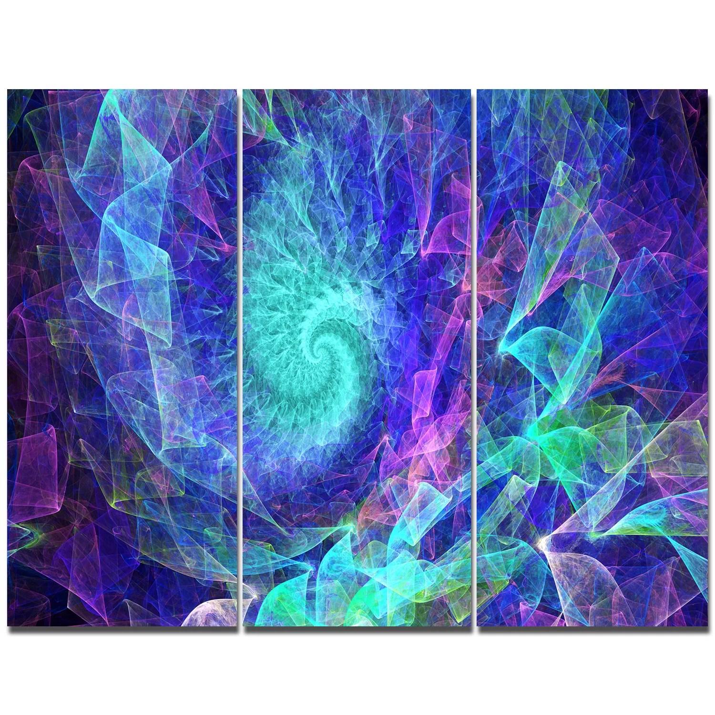 Designart Blue Spiral Kaleidoscope Graphic Art Print Multi Piece Image On Canvas