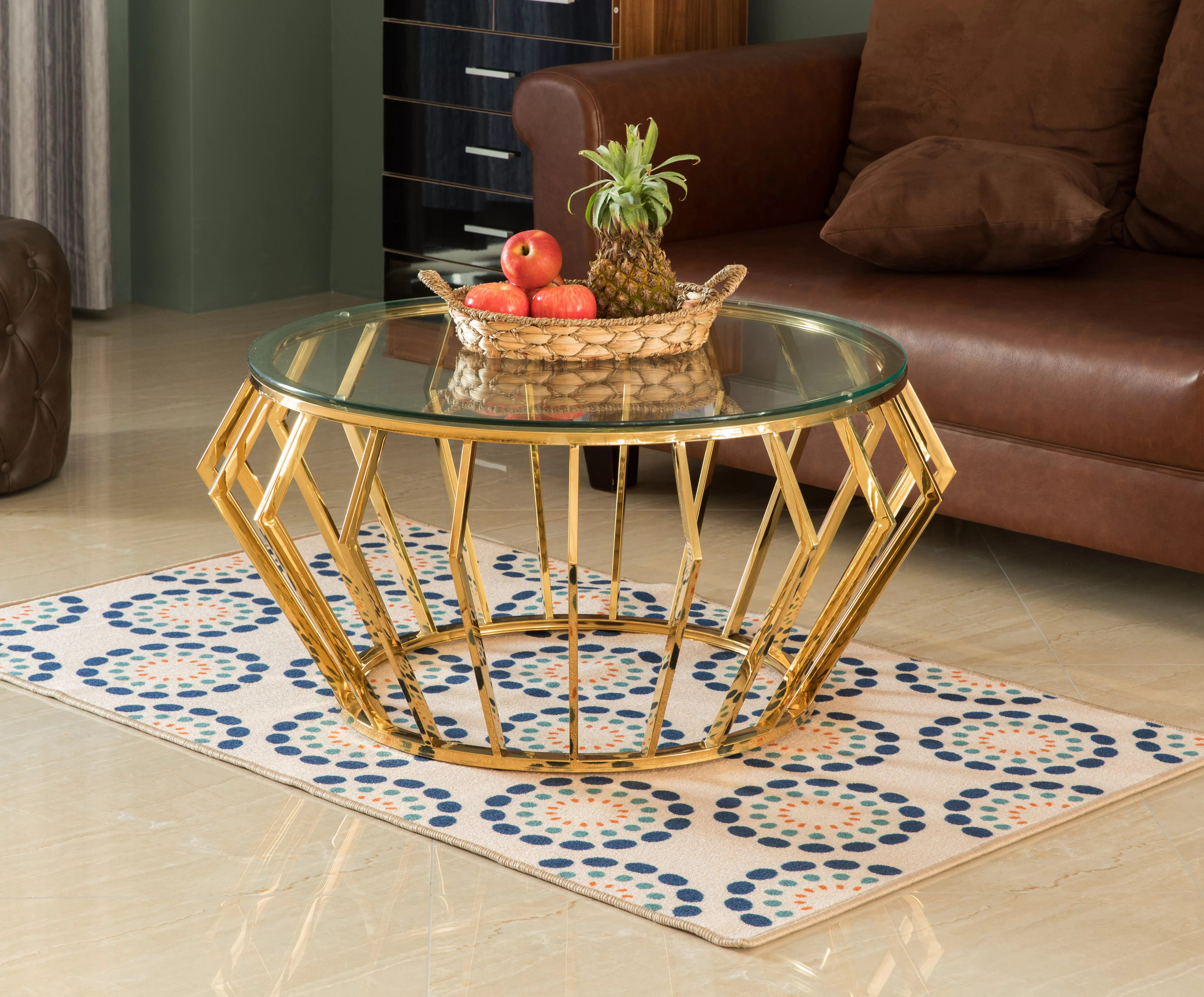 everly quinn round shaped glass gold stainless steel metal modern coffee table wayfair