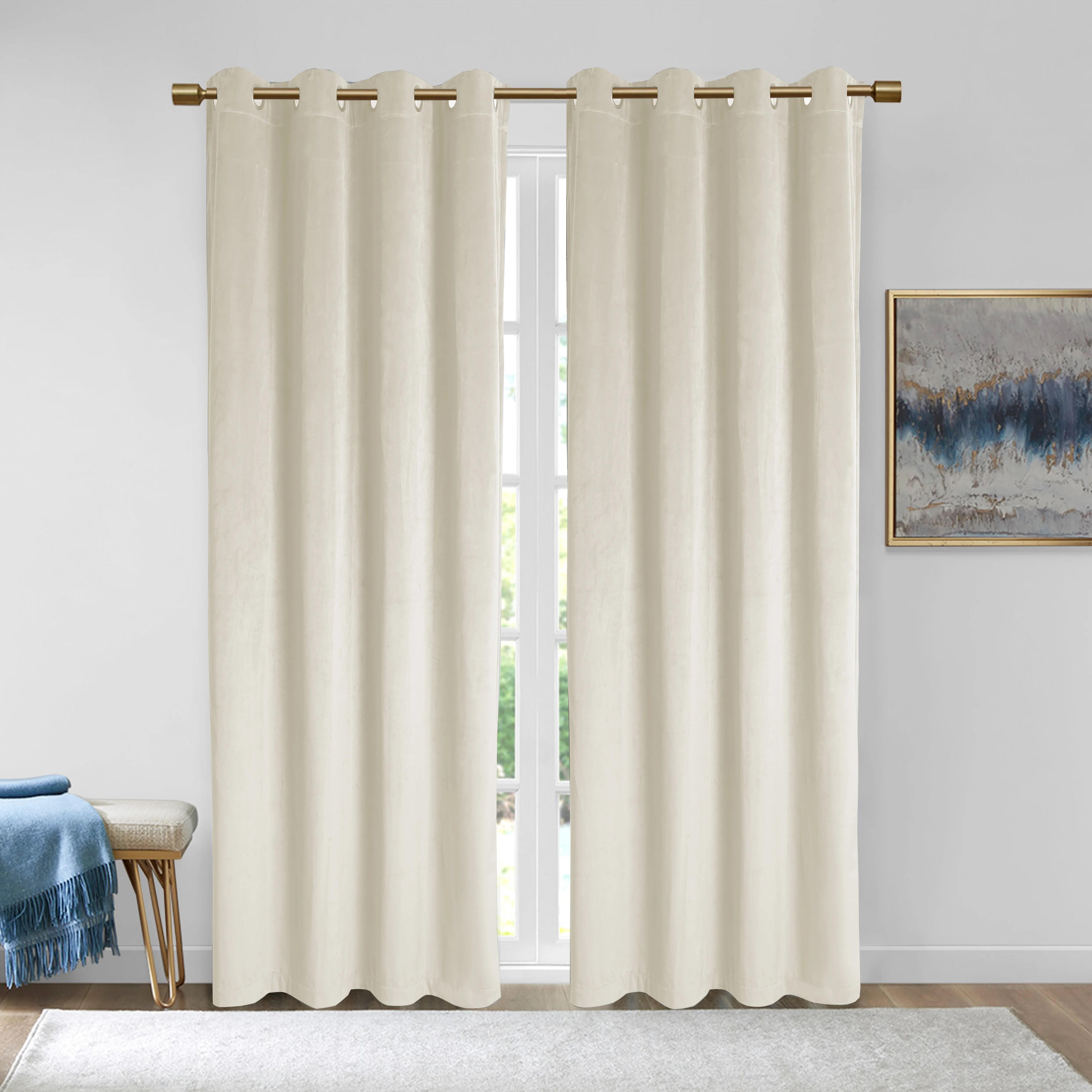 everly quinn rybicki velvet solid color room darkening curtain panels reviews wayfair