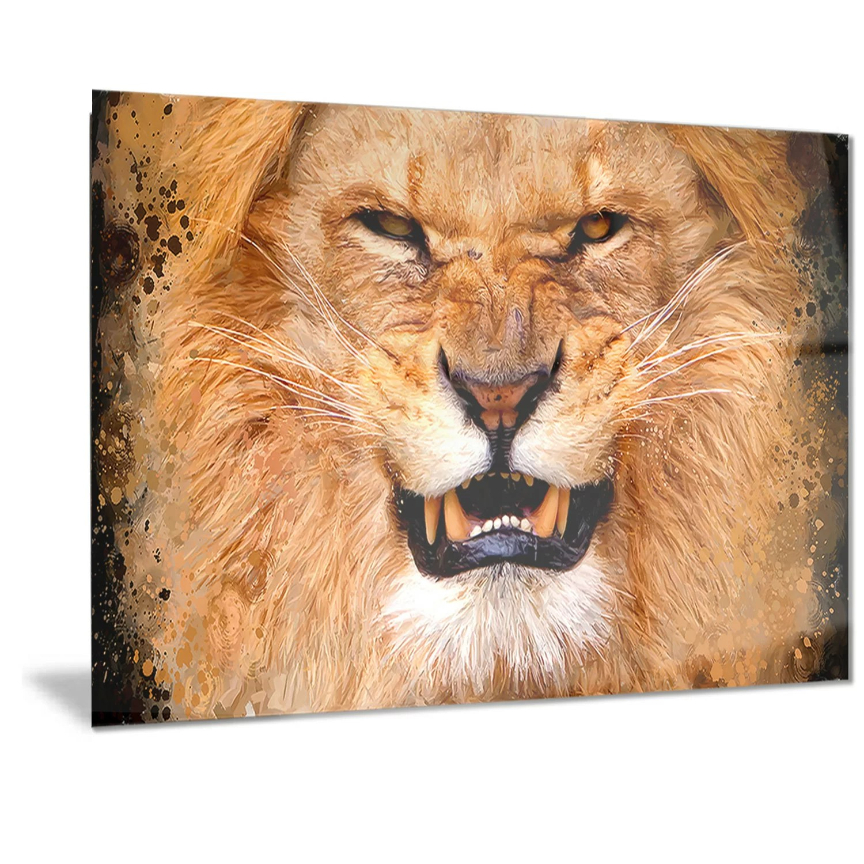 designart metal angry lion