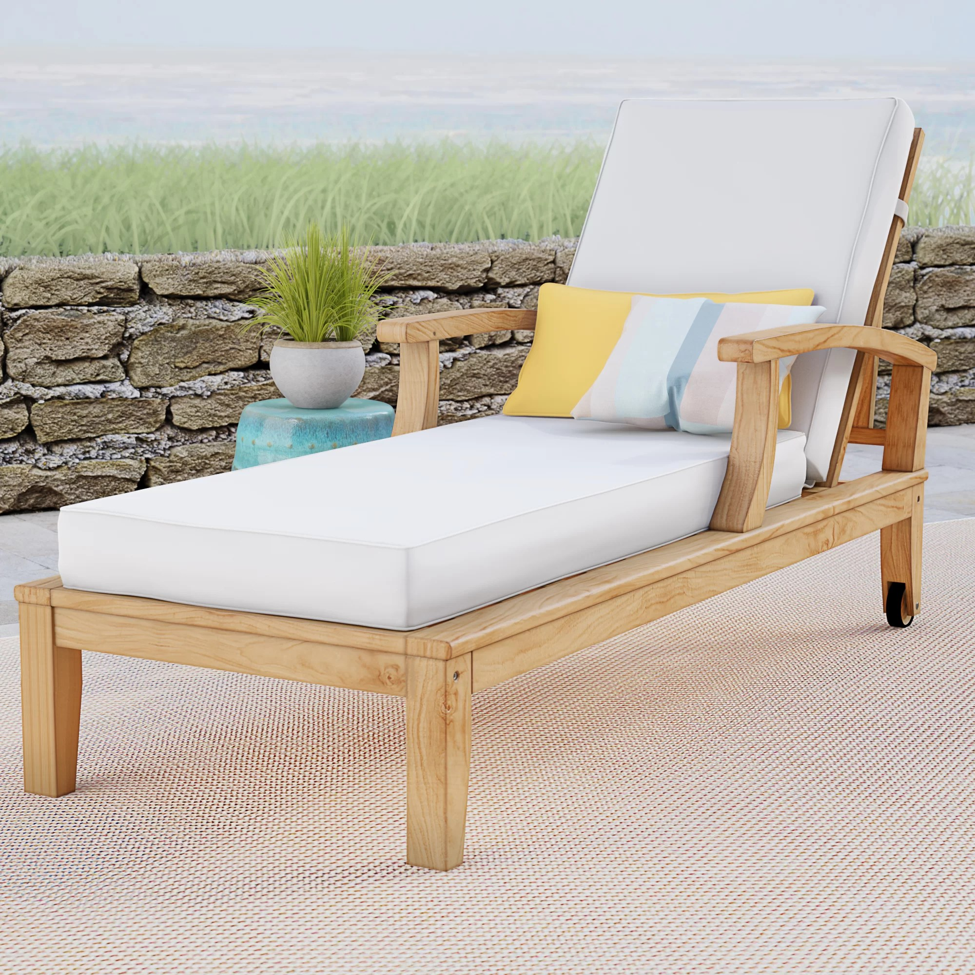 Teak Chaise Lounge Chairs Elaina Teak Chaise Lounge